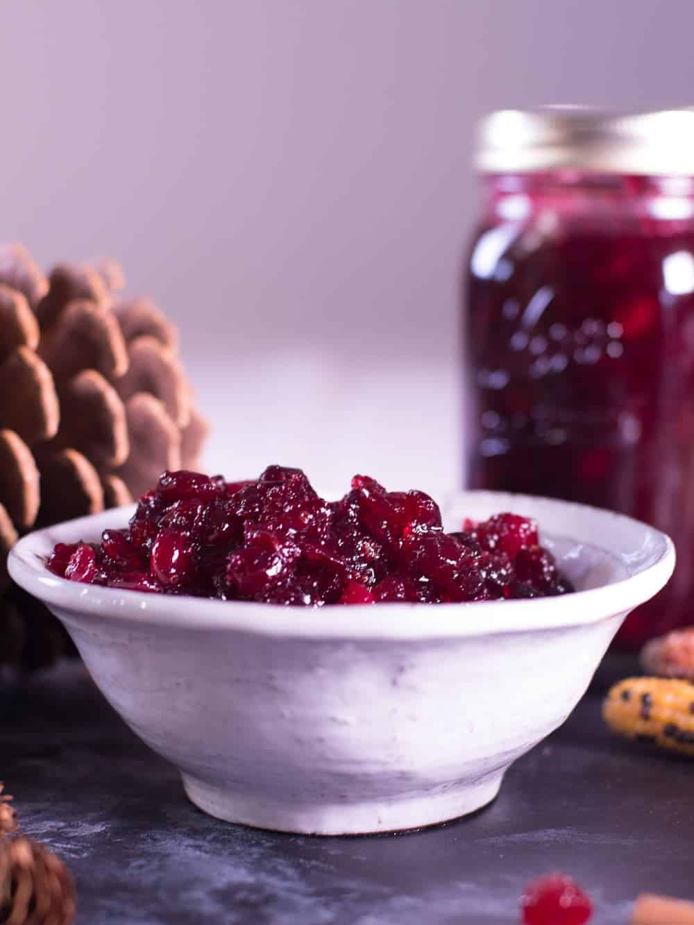 homemade fresh cranberry sauce in a white bowl