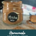 Homemade mocha mix for making lattes and hot chocolate in a mason jar. PInterest Image by foodology geek.