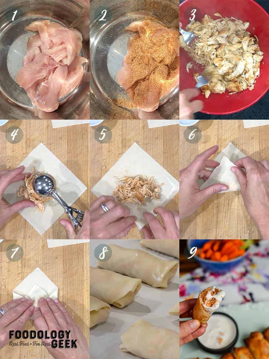 buffalo chicken egg rolls step by step guide