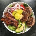 healthy burger meal prep bowl | foodology geek