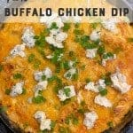 buffalo chicken dip. pinterest image by foodology geek