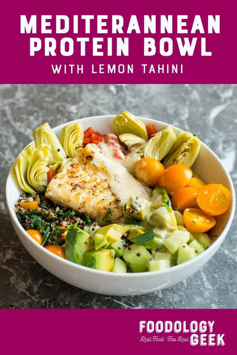 Mediterranean fish power bowl. Contains quinoa, lacinato kale, fresh tomatoes, cucumbers and a lovely lemon tahini dressing. Pinterest image by foodology geek.
