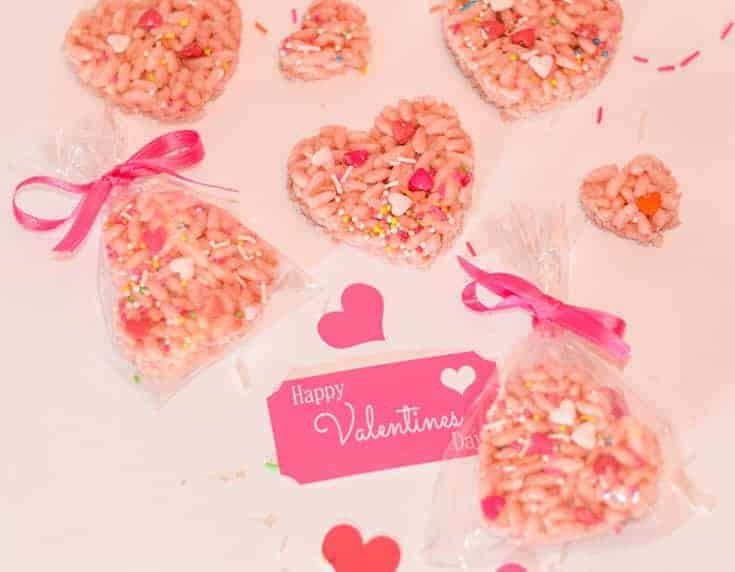 Valentines rice krispie treats variation. Pink and cut into heart shapes. packaged with homemade valentines gifts tags.