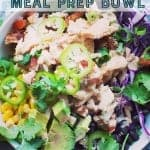 chipotle chicken meal prep bowl. pinterest image by foodology geek