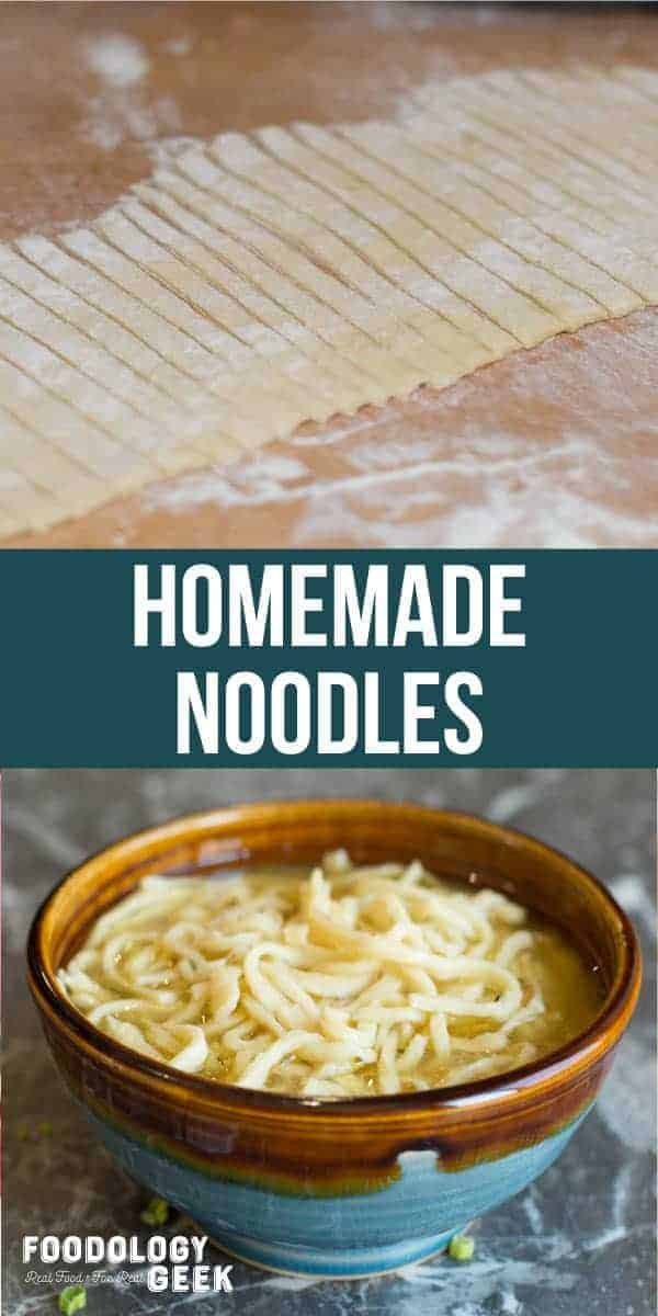 Easy old fashioned noodles in broth. pinterest image recipe by foodology geek