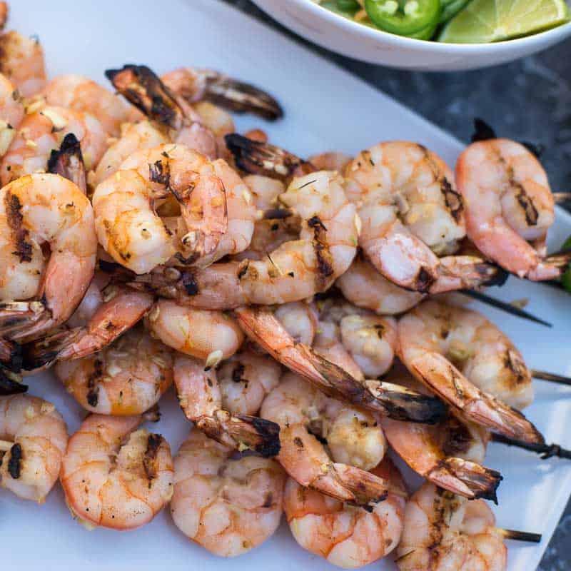 Grilled lemongrass shrimp on skewers.