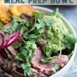steak chimichurri meal prep bowl. chimichurri steak, tostones, guacamole pinterest image from foodology geek