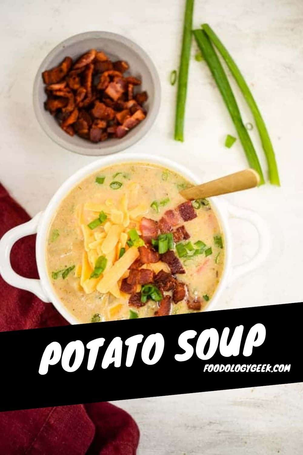 Easy potato soup recipe. Seriously the BEST POTATO SOUP on the internet. Serve it plain or fully loaded. Either way this soup is serious comfort food!