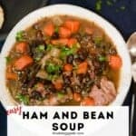 This smoky black bean and ham soup recipe is ultra-easy to make. Use your favorite type of bean in the recipe. I made this version with black beans. Serve with cornbread or crusty french bread. #blackbeansoup #comfortfood