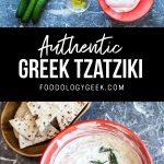 Authentic greek tzatziki sauce recipe. pinterest image by foodology geek