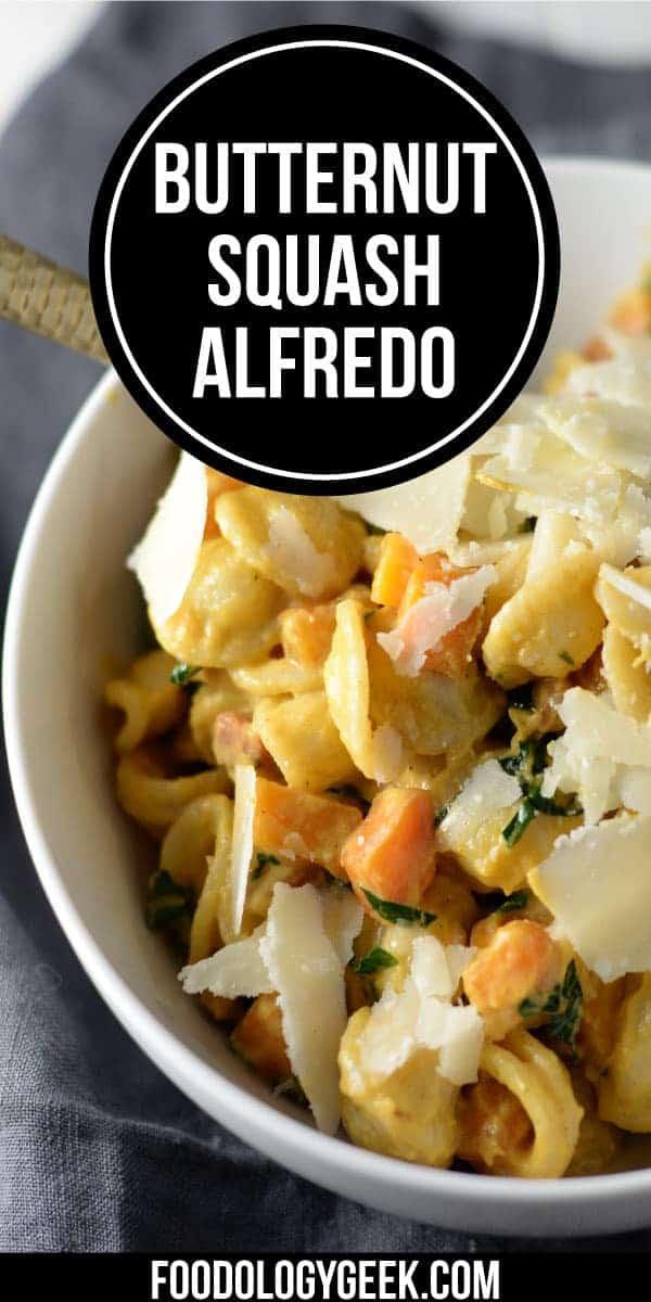 Butternut Squash Pasta Recipe. Creamy Butternut Squash Alfredo Recipe with Pancetta and Kale