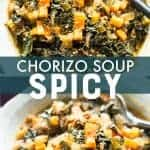 Spicy chorizo soup with butternut squash and kale. in a white bowl. pinterest image.