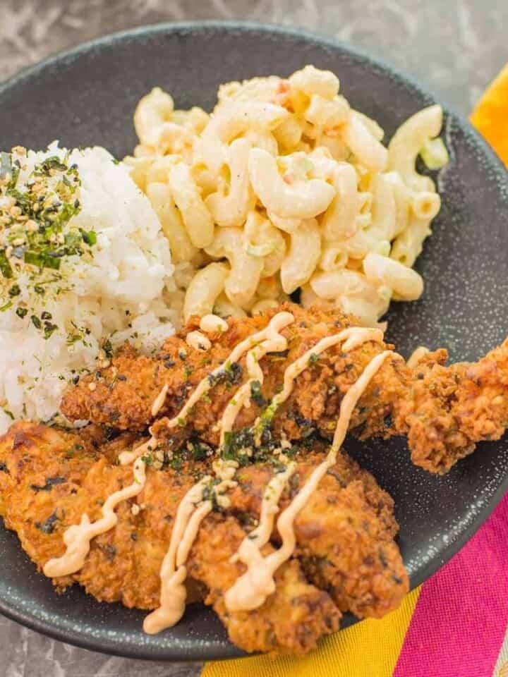 hawaiian furikake fried chicken and mac salad