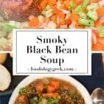 Smoky black bean soup recipe made with ham hock. pinterest image.