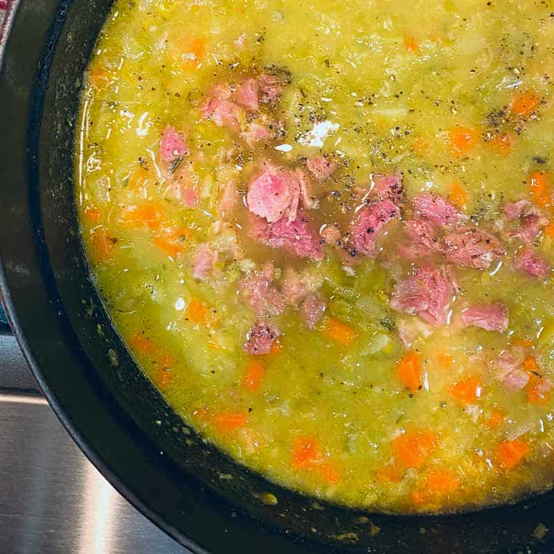 split pea and ham soup recipe in a dutch oven by foodology geek