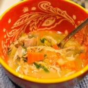 easy turkey soup recipe made with leftover thanksgiving turkey