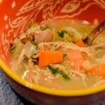easy turkey soup recipe in an orange bowl