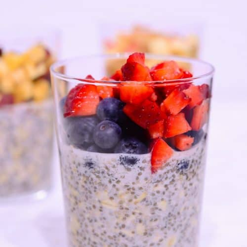Blueberry and strawberry high protein overnight oats recipe.