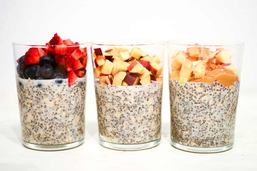 Overnight Oatmeal: Strawberry and Blueberry, Peaches and Cream, Peanut Butter and Apple