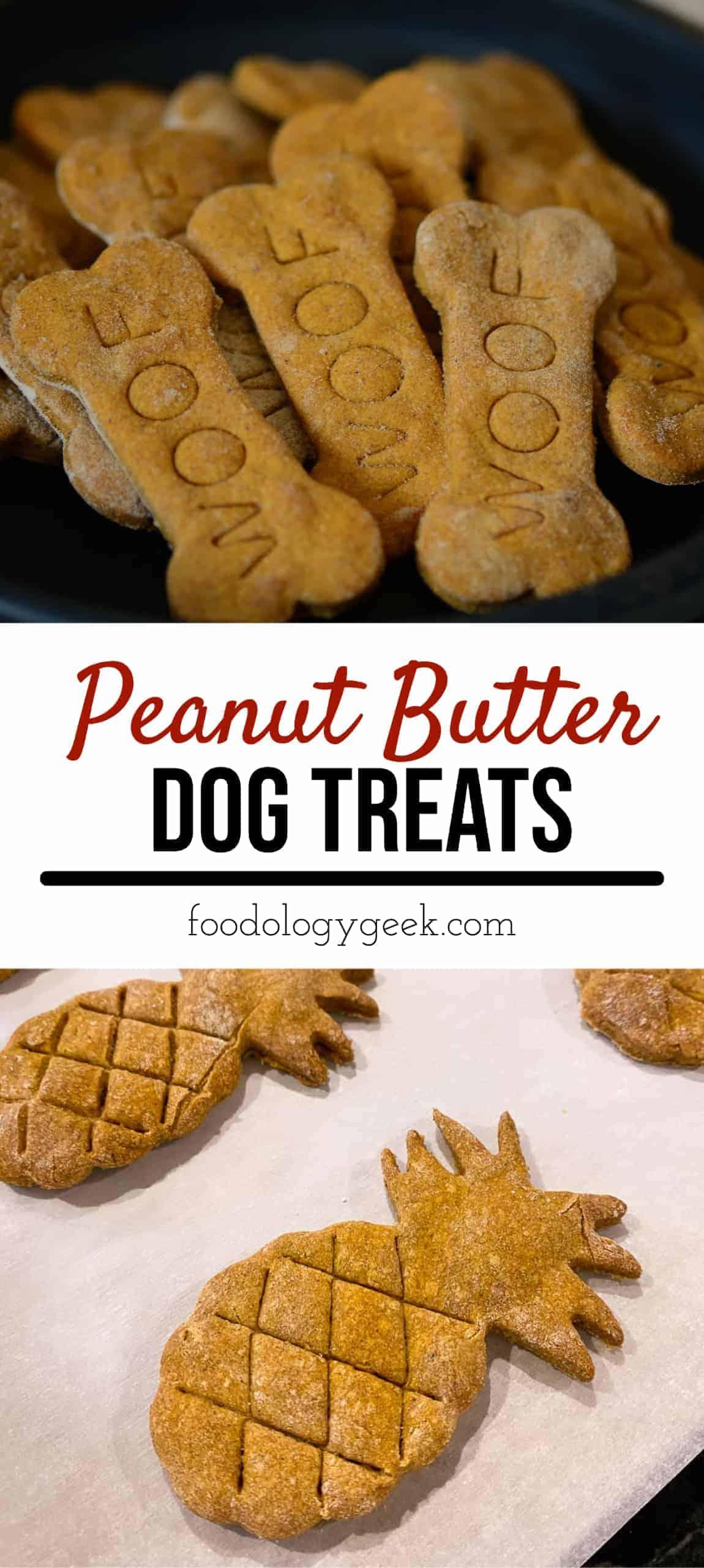 peanut butter dog treats, pinterest image by foodology geek