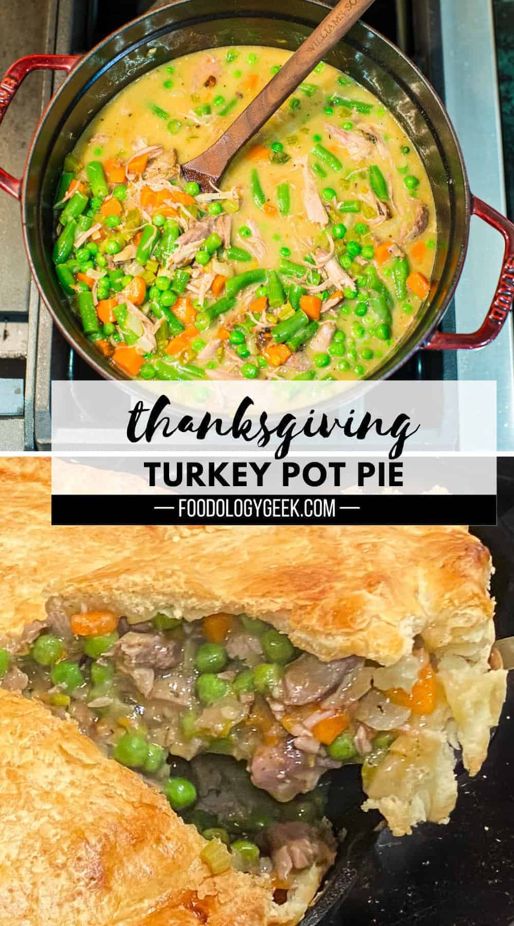 turkey pot pie filling on the stove in a staub dutch oven