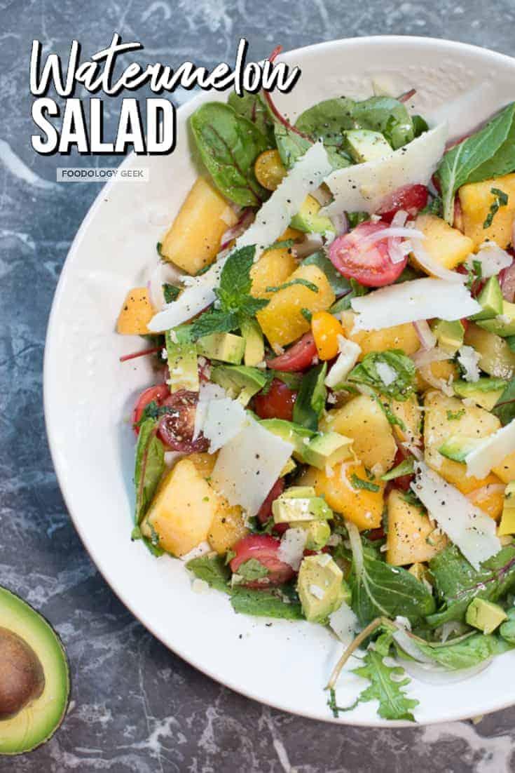 Watermelon Salad Recipe. pinterest image by foodology geek.com