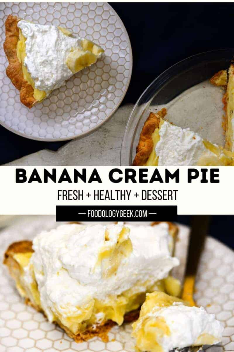 If you love fresh bananas, you're going to love this easy banana cream pie recipe. This banana pie is filled with a rich and creamy vanilla custard and layered with fresh bananas then topped with whipped cream.