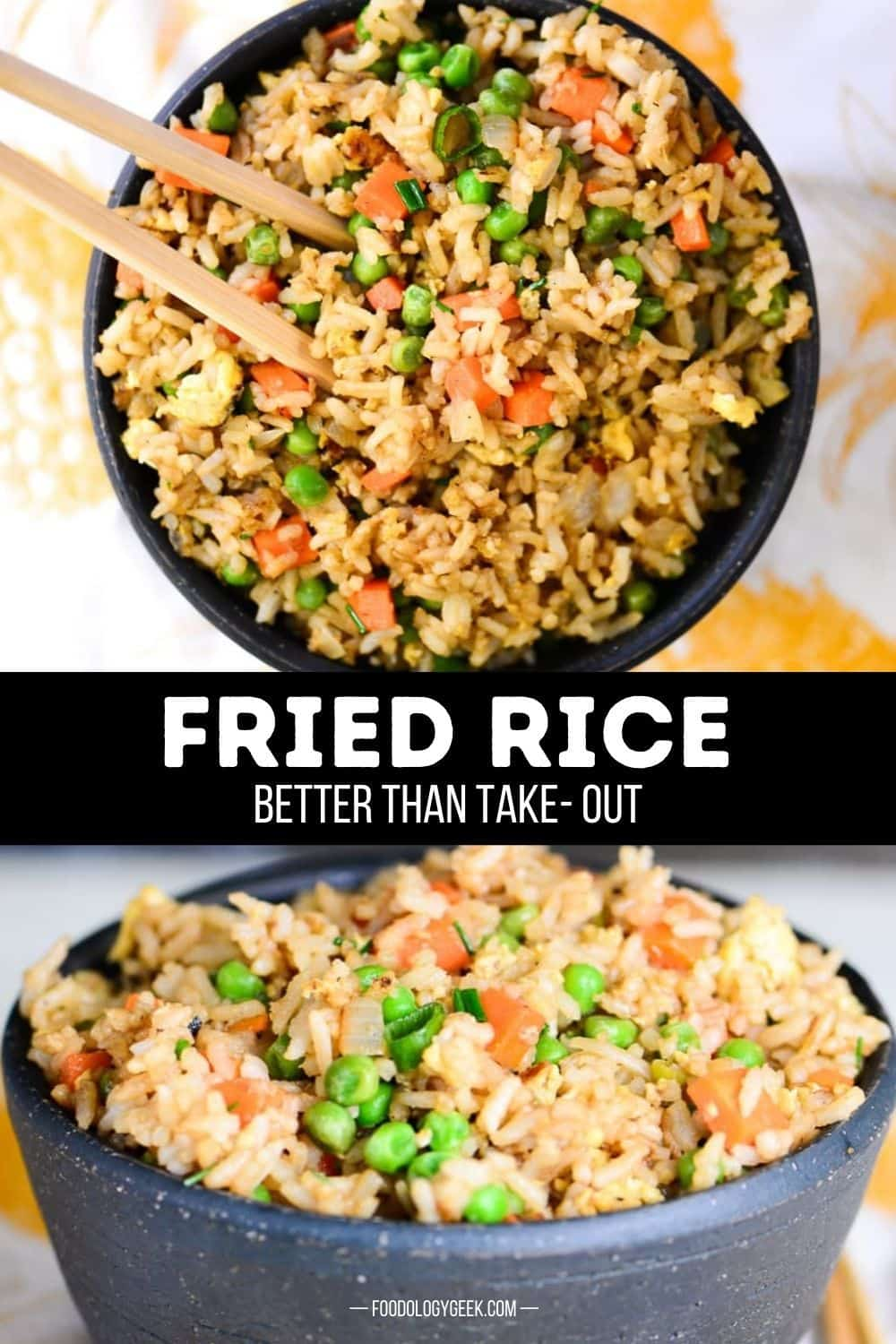 Chinese fried rice is one of the best take-out leftovers! You can make this easy fried rice recipe at home in less than 20 minutes. It's the perfect way to use up leftover rice and veggies.