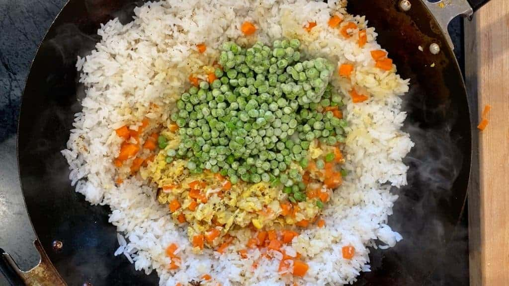 healthy vegetable fried rice with frozen peas