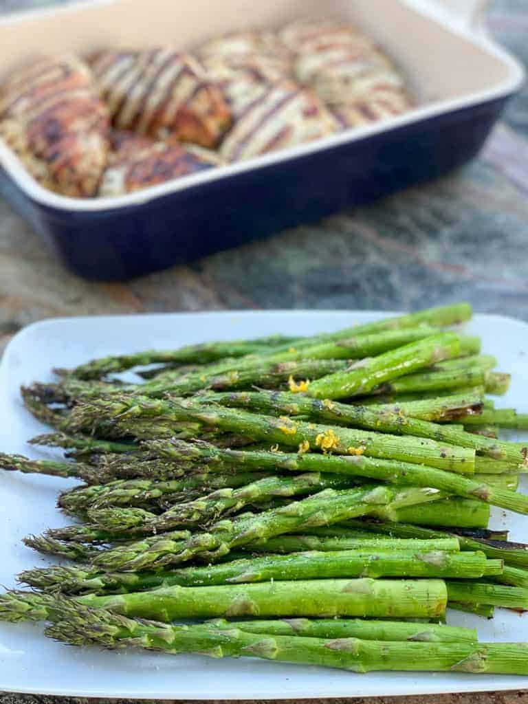 grilled asparagus and grilled marinated chicken breast