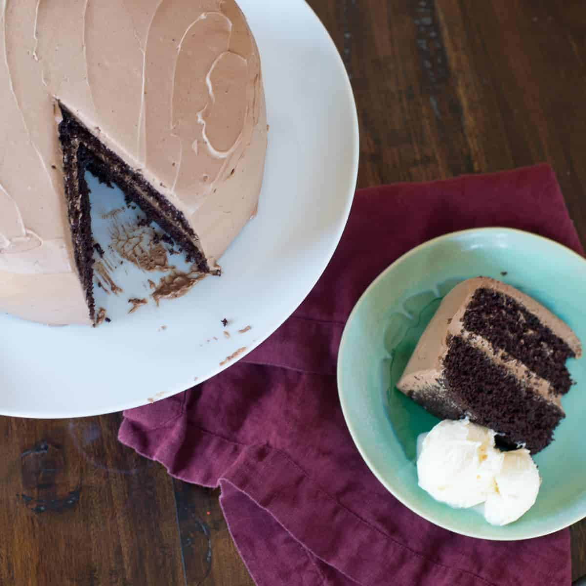 rich dark chocolate mocha cake with a fluffly chocolate whipped cream frosting