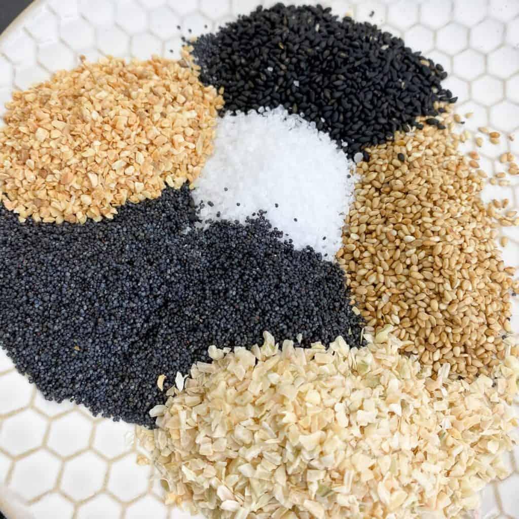 ingredients for everything bagel seasoning | foodology geek