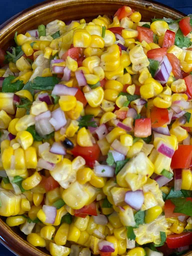 Finished corn salsa recipe in a bowl.