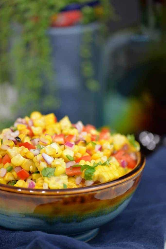 Easy corn salsa recipe in a gorgeous glazed bowl.