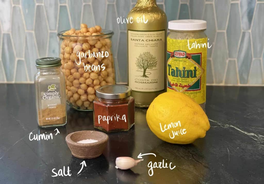 Ingredients to make homemade hummus | foodology geek