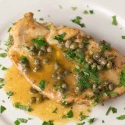 lemon chicken piccata on a white plate with sauce and capers | foodology geek