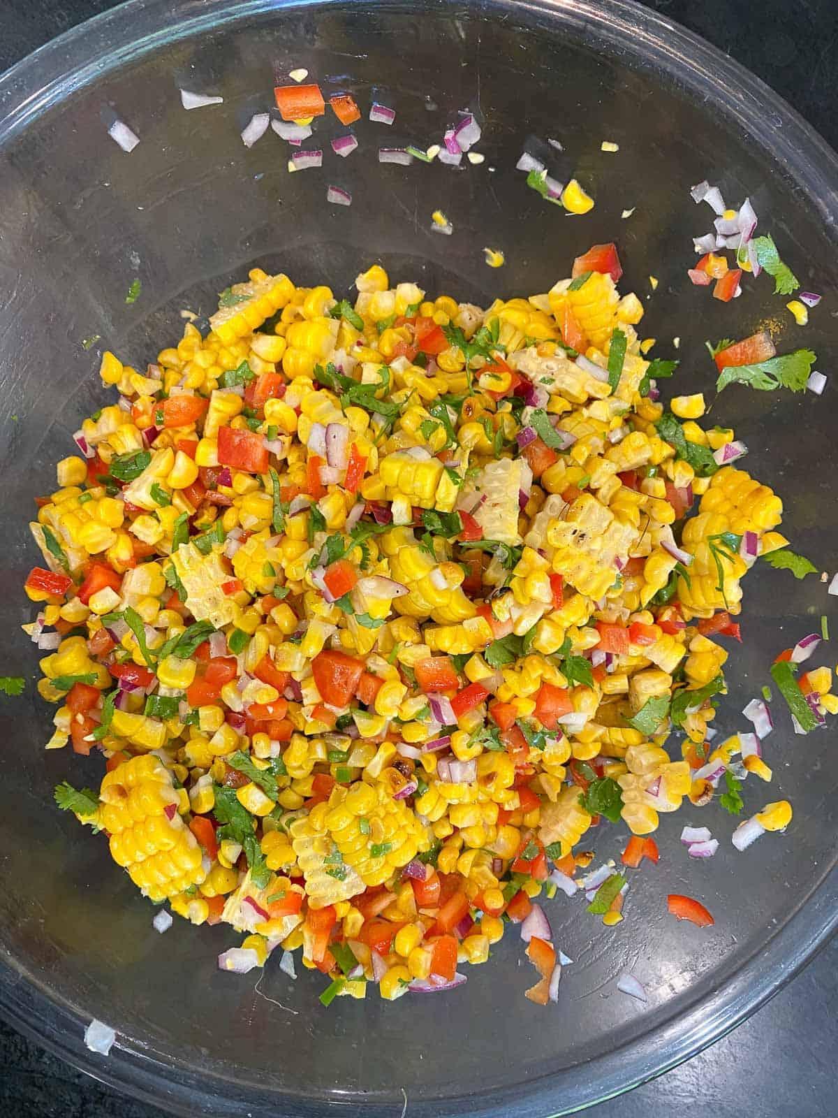 Corn salsa in a bowl.
