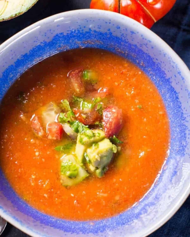 fresh garden gazpacho recipe with an avocado salsa