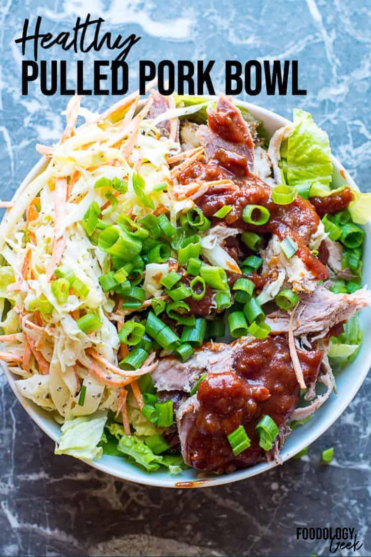 pulled pork meal prep bowl pinterest image | foodology geek