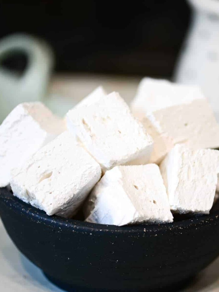 bowl of homemade marshmallows