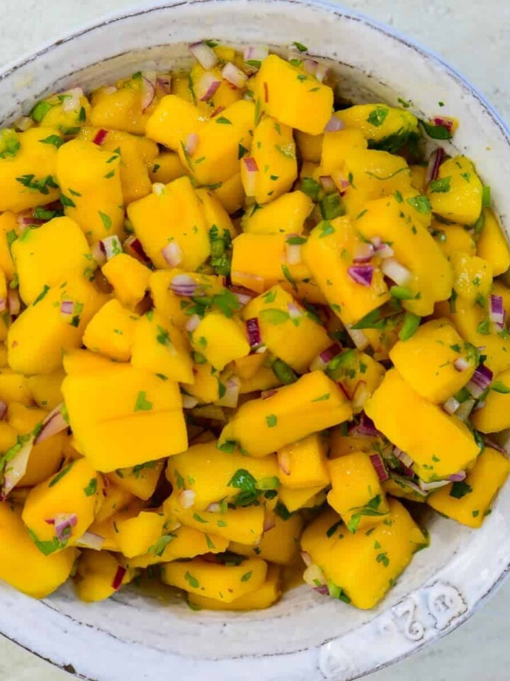 mango salsa with cilantro, red onions, lime and serrano peppers