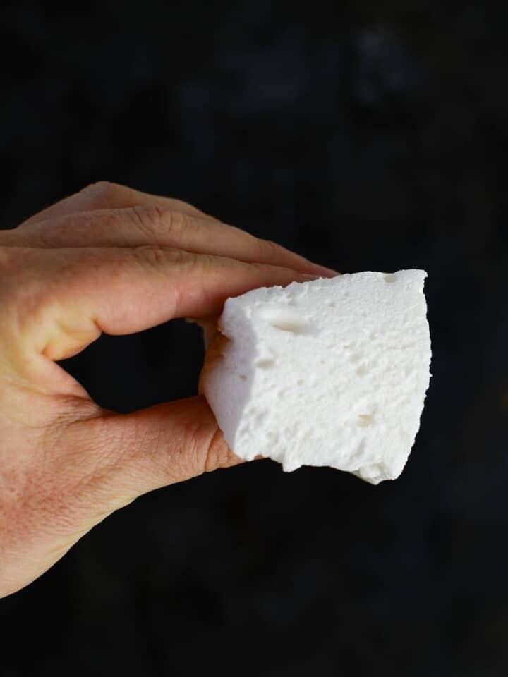 sugar free marshmallow recipe in a hand
