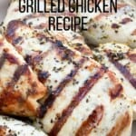 There is nothing easier or healthier than grilled chicken breasts. Grilling chicken breasts once a week will you have lunch and dinner all week long. This chicken is never dry.