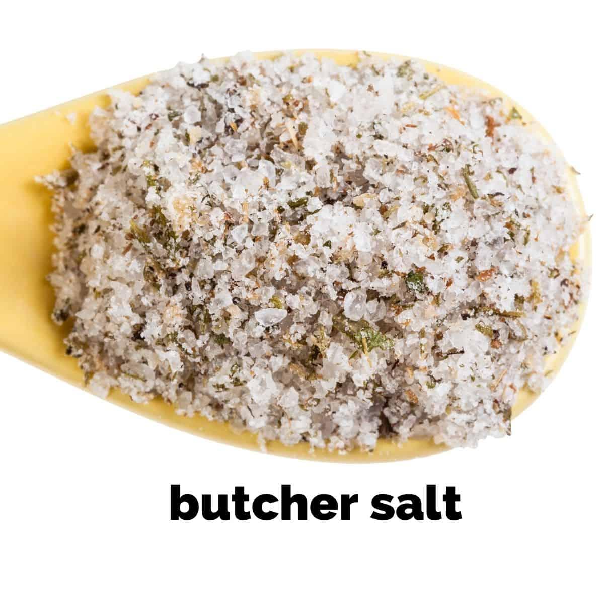 butcher salt on a spoon
