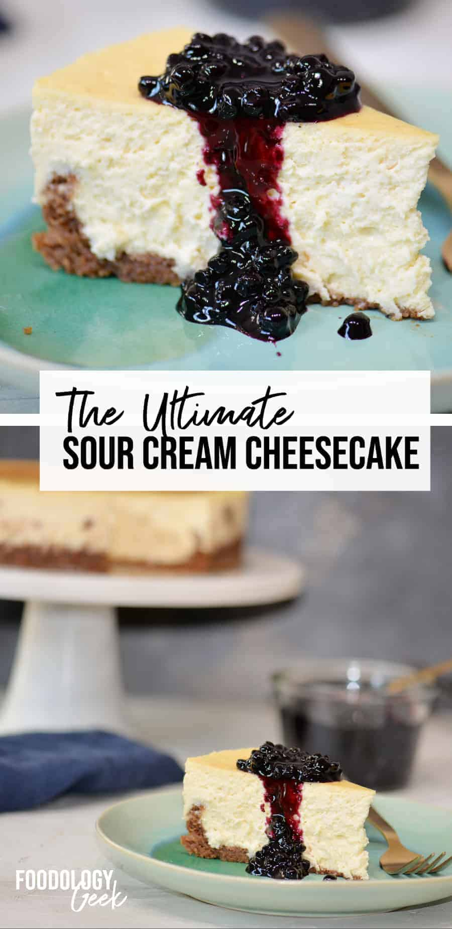 sour cream cheesecake with blueberry topping pinterest image