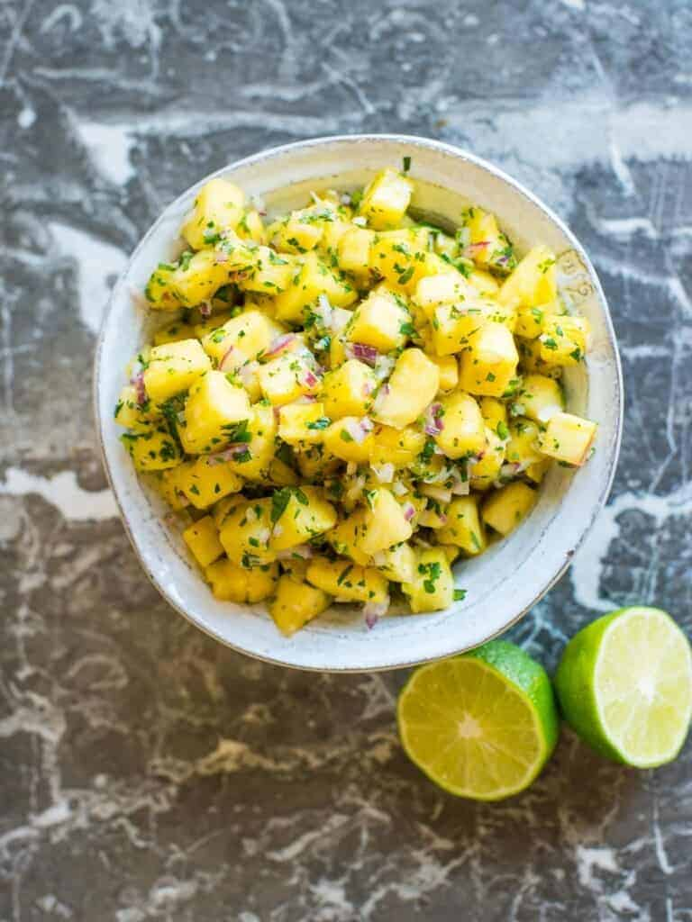 fresh homemade pineapple salsa recipe with fresh lime juice