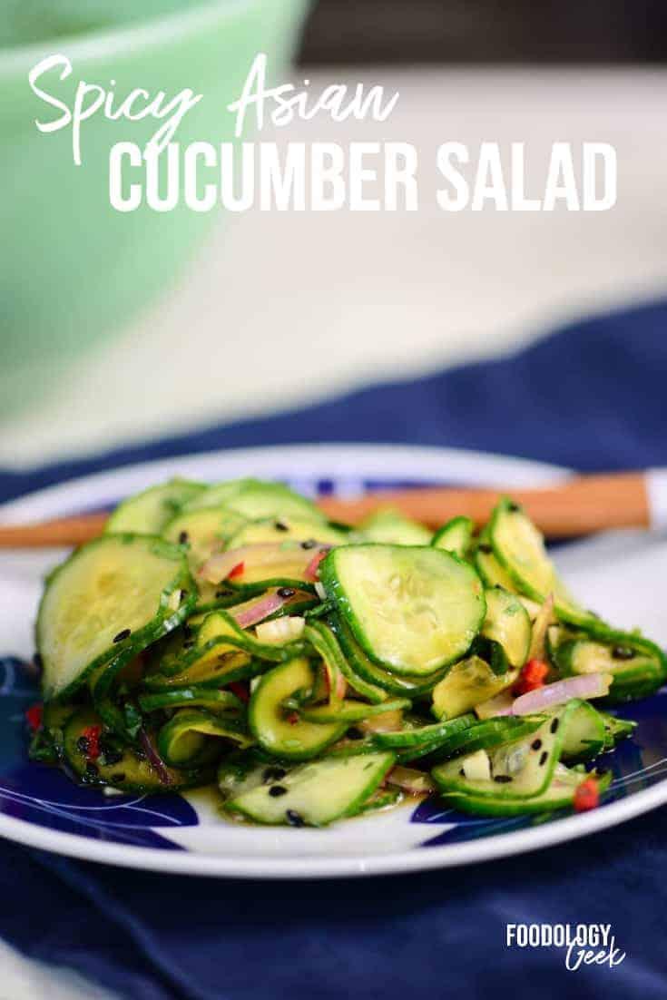 spicy asian cucumber salad pinterest image