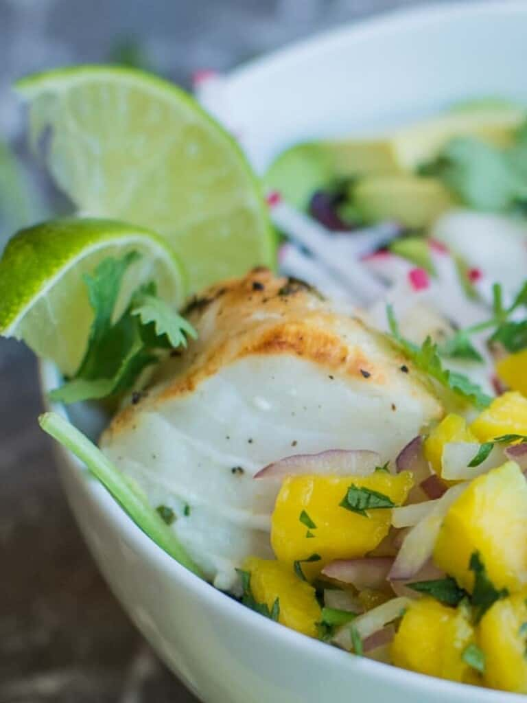marinated cod in a fish taco bowl