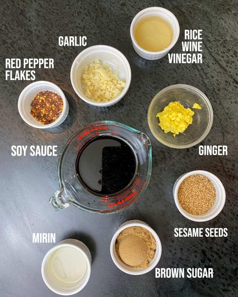 teriyaki sauce ingredients in bowls