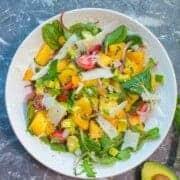 savory watermelon salad recipe with fresh tomatoes, herbs, and pecorino romano